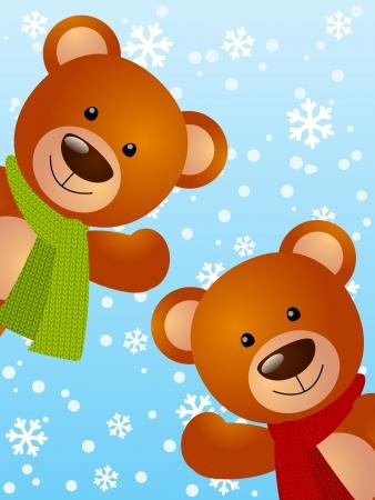 osos navideños: Los osos divertidos sobre fondo de invierno Foto de archivo
