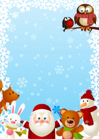 christmas owl: Funny Santa with cute animals