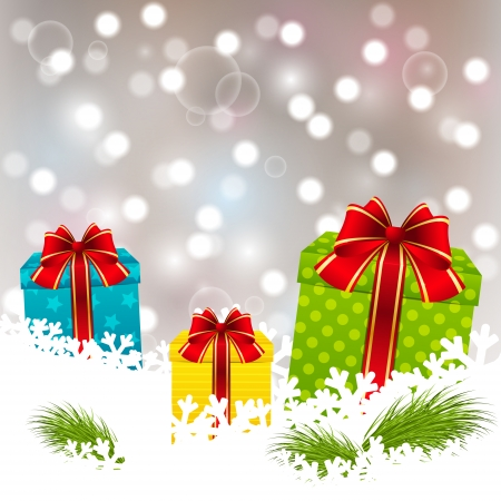 Christmas gifts on white snow Vector
