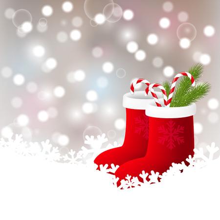 botas de navidad: Fondo de Navidad con calcetines rojos Vectores