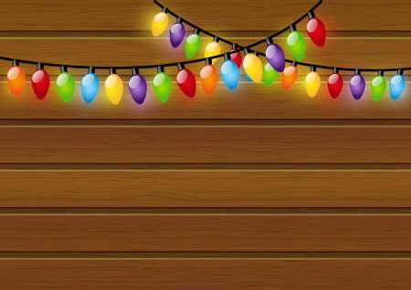 Christmas light bulbs on wooden background Vector