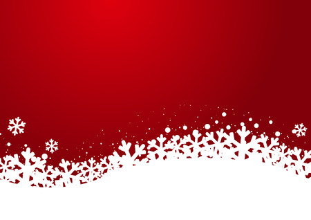 snowflake border: Christmas snowflakes on red background Illustration