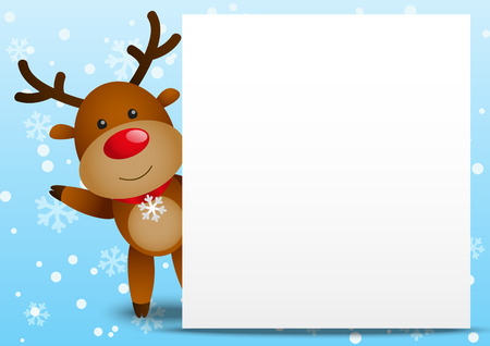 rudolph the red nose reindeer: Funny deer with empty paper sheet