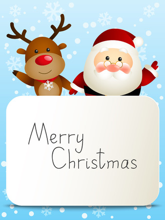 santa costume: Funny Santa and deer with Christmas card Illustration