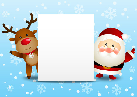 christmas banner: Funny Santa and deer with empty paper sheet Illustration