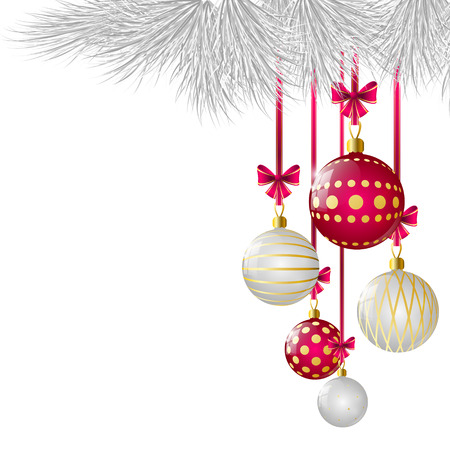christmas decorations with white background: Christmas card with glossy balls Illustration