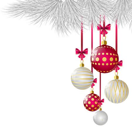 weihnachtsschleife: Weihnachtskarte mit gl�nzenden Kugeln