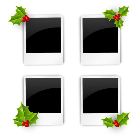 polaroid frame: Set of Christmas photo frames Illustration