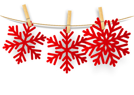 clothespin and rope: Paper snowflakes on white background
