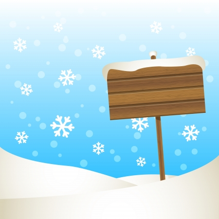 Winter  background with wooden plate Vector