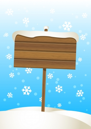 Wooden plate on the snow Vector