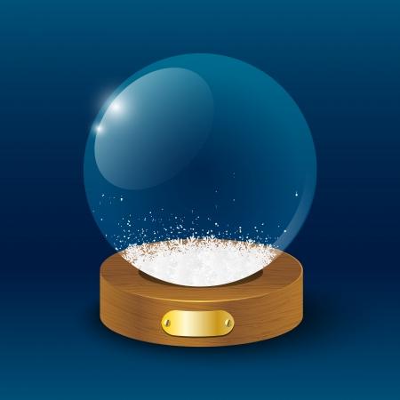 christmas snow globe: Glass ball with white snowflakes