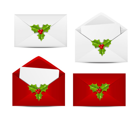 Set of Christmas envelope icons Vector