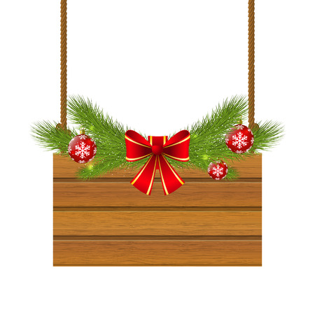 Christmas wooden plate for Your design Vector