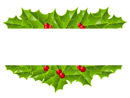 Holly berries border with place for text 矢量图像