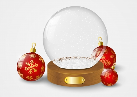 Christmas glass ball with snow Vector