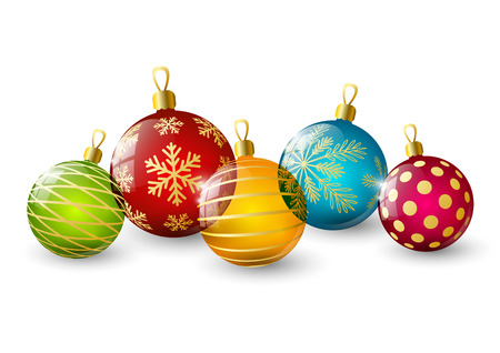 snowflake border: Color Christmas balls on white Illustration