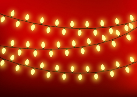Christmas lights on red background Vector