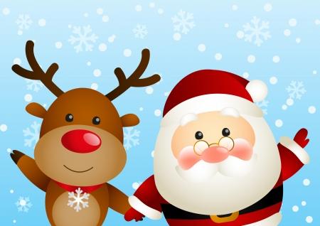 Funny Santa and cute deer