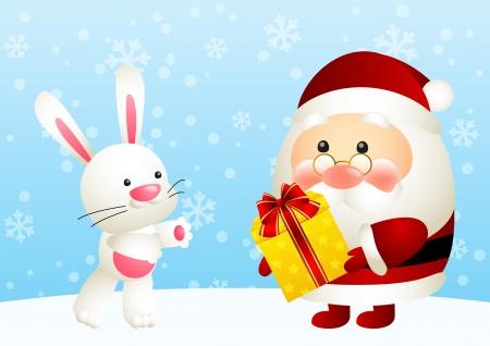 Funny Santa and cute rabbit