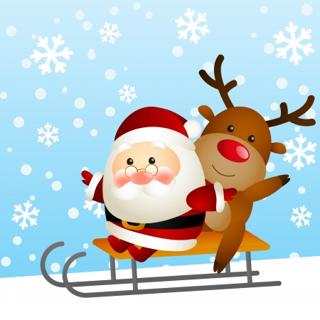 Funny Santa and deer on a sled Vector