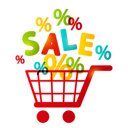 e retailers: Shopping cart with percent symbols