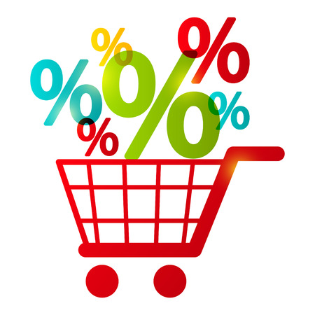 percentage sign: Shopping cart with percent symbols
