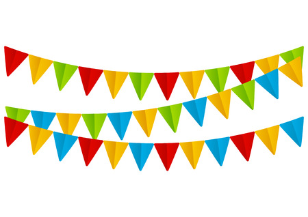 Color paper flags on white Vector