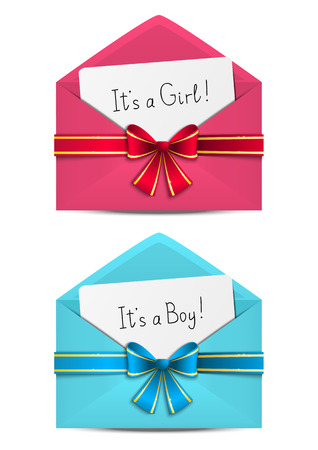 Baby shower cards in envelopes Vector