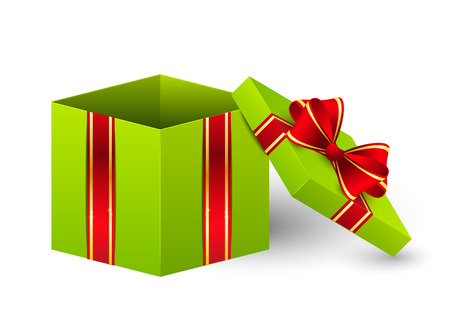 open present: Open gift box with ribbon