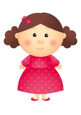 pink dress: Cute little girl wearing pink dress Illustration