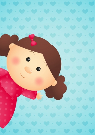 Cute little girl on blue background