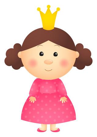 pink dress: Princess girl isolated on white Illustration