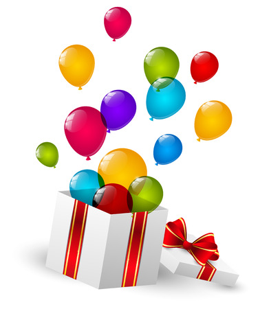 Gift box with color balloons Vector