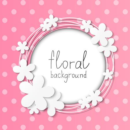 polka dot: Paper flowers frame on pink background Illustration