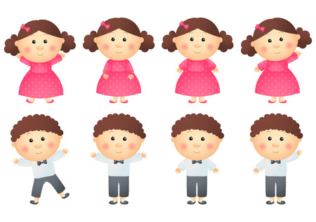 Set of little girls and boys Illustration