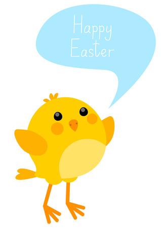 Tarjeta de Pascua con pollo poco