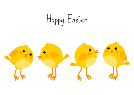 Easter card with little chickens Vector