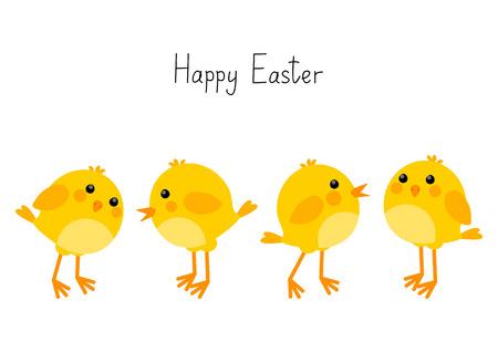 Tarjeta de Pascua con los pequeños pollos