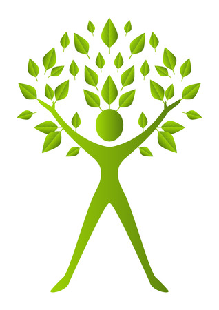 Organic symbol - green people tree Vector