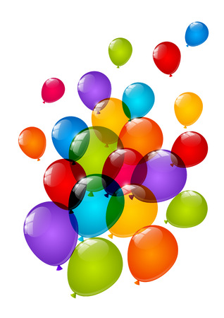 Color glossy balloons isolated on white Vector