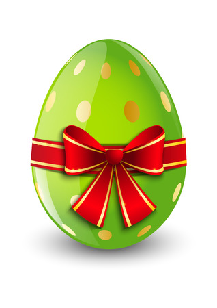 Easter egg with red ribbon
