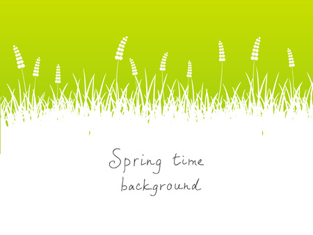 place for text: Green spring background with place for text Illustration