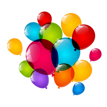 balloons party: Color balloons on white background Illustration
