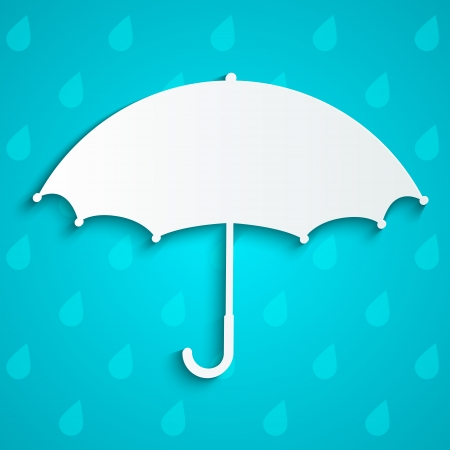 Paper umbrella on rainy background Vector