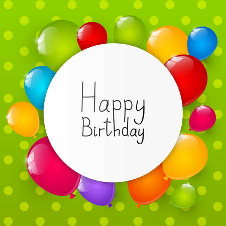 Birthday background with color balloons Vector