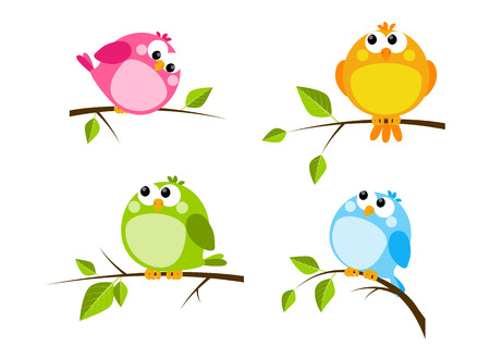 Set of cute color birds Vector
