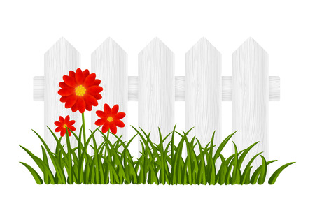 garden fence: Wooden fence with red flowers