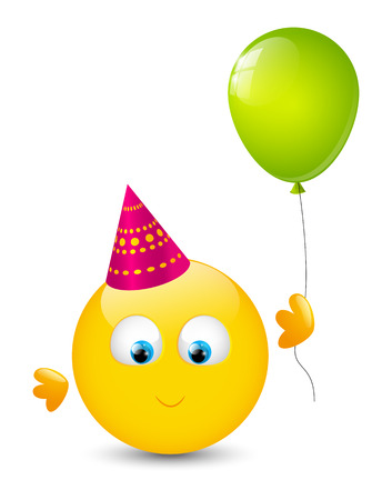Cute smiley with glossy balloon Vector