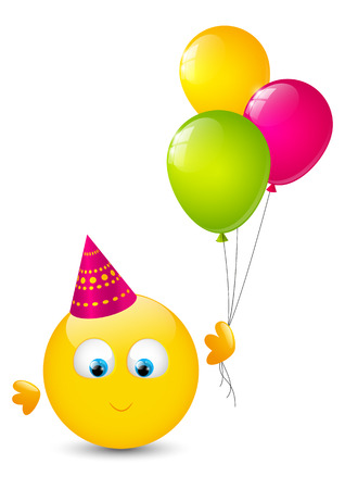 Cute smiley with glossy balloons Vector